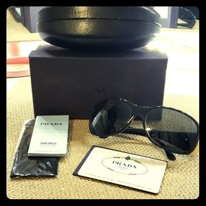 Authentic Prada Sunglasses Black and Gold